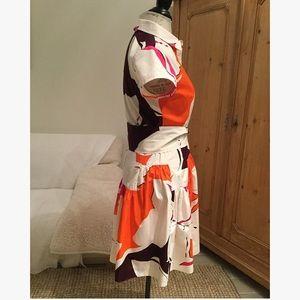 "Diane Von Furstenberg Dresses - DVF ""scarlet"" orange and pink printed shirtdress"